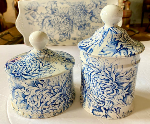 Vintage Blue and White Transferware Chrysanthemum Flowers Chintz Transferware Lidded Jar Bathroom Decor