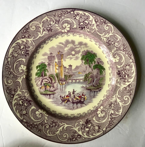 Antique Purple Transferware Plate Ridgways Venice Gondola Scene