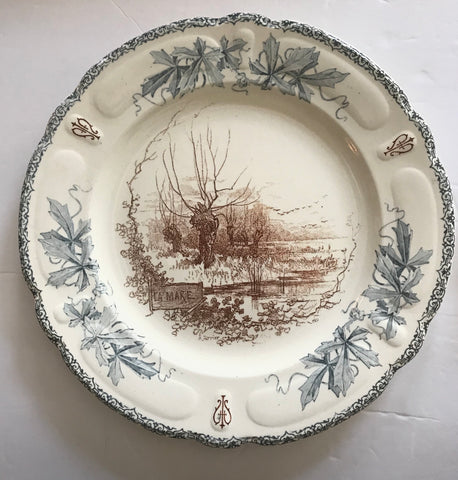 Choisy Le Roi 2 Color Blue & Brown Transferware Plate French