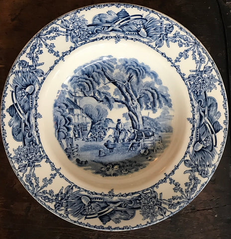Blue & White Transferware Soup Salad Bowl Rural Scenes Ducks Stream Horses Tavern