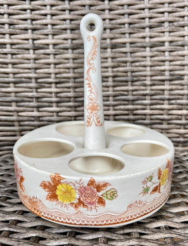 Vintage Polychrome Brown Transferware Egg Stand
