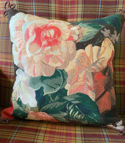 Coral Pink Peach Peony Hibiscus & Roses Floral Needlepoint Petit Point Pillow Cover