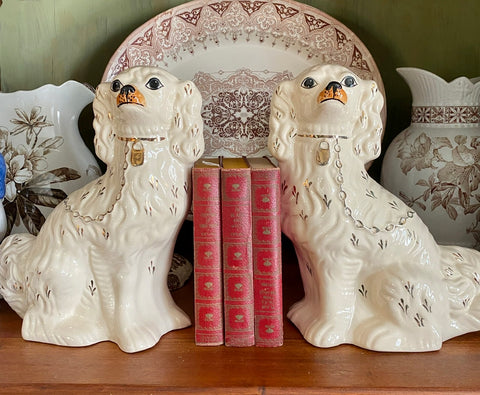 "Antique Large 12"" Tall King Charles English Staffordshire Dogs White"
