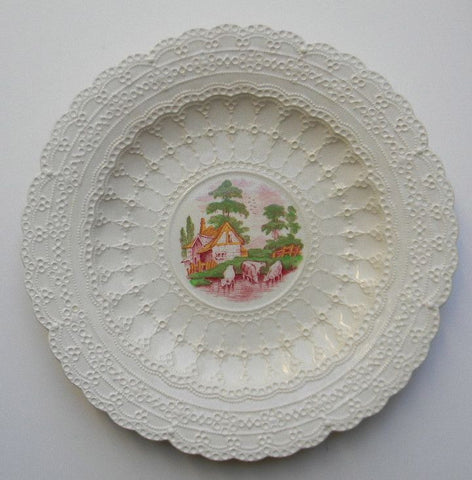 Vintage Hand Painted Red Transferware Plate Spode Jewel Exquisite Lace Border Grazing Cattle & Cottage