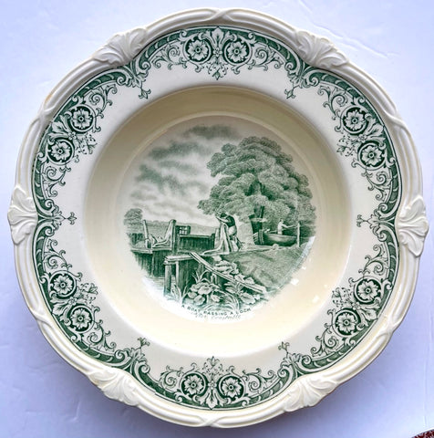 Green & Cream Transferware Rim Bowl Scenes After Constable Boat Lock Pastoral Scene