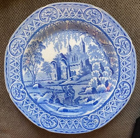 Early 19th Century Davenport Pastoral Staffordshire Blue Transferware Plate