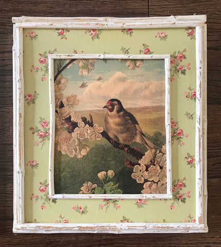 Vintage Country French Bird on Dogwood Brand Print on Board w/ Pink Rose & Distressed Bamboo Frame Left Facing