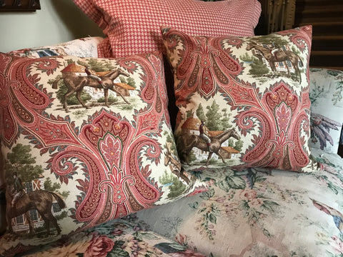 2 English Country Equestrian Horse & Rider Paisley Feather Pillows