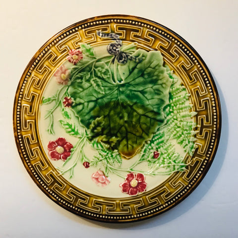 Antique French Majolica Plate Choisy Le Roi Ferns Flowers Leaves Greek Key