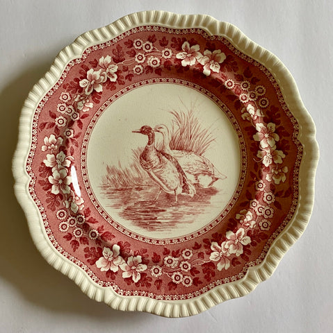 RARE Vintage Spode Copeland Tower Red Transferware Plate Game Bird Wild Duck No. 8