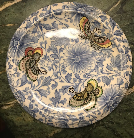 RARE Bi Color Antique Blue & Brown Butterflies & Flowers Transferware Trivet Royal Doulton