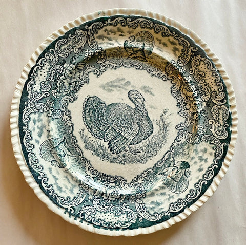 Antique Teal Transferware Turkey Plate Staffordshire