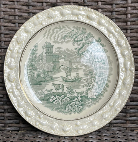 Green Transferware Dinner Plate Cow Goat Pastoral Italian Scenery Embossed Acorn Border