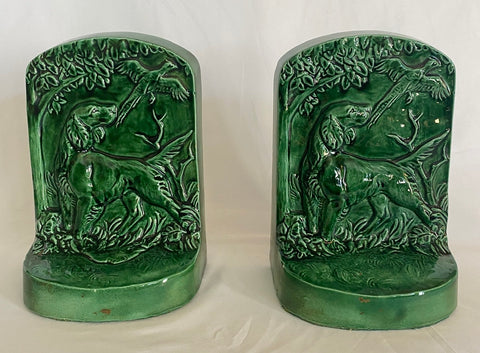 Vintage Pair English or Irish Setter / Retriever Hunt Dog  Bookends Green Glaze