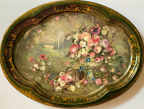 Vintage English Tole Toleware Tray Summer's Bounty Chatsworth Derbyshire House