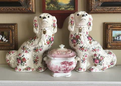 Vintage Pair of X Large Rose Chintz English Staffordshire Spaniel Dog Figurines  - English Country Decor