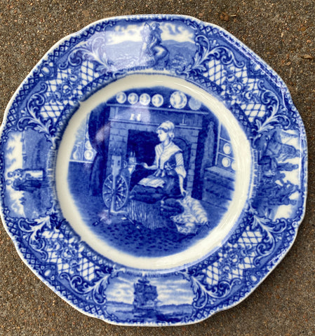 Crown Ducal Colonial Times Blue Transferware Plate Betsy Ross American Flag History