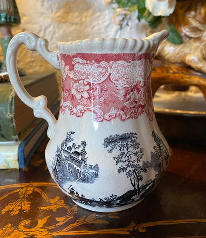 Bishop & Stonier Athena Pitcher Bi Color Transferware Red & Black Victorian Scrolls Roses