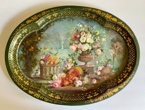 Vintage English Tole Toleware Tray Autumn's Bounty Chatsworth Derbyshire House