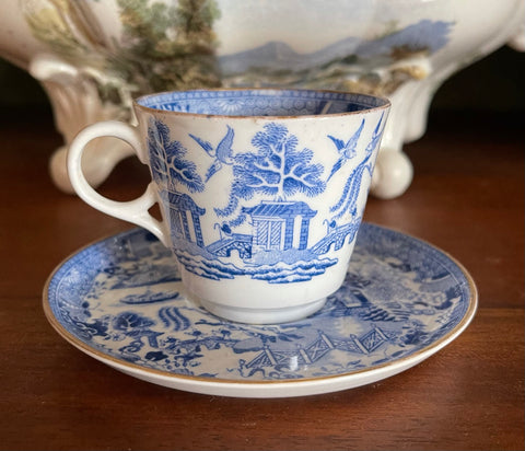 Antique W T Copeland Blue Willow Demitasse Cup & Saucer W/ Gilt Trim