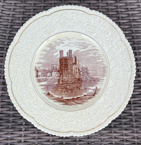 Circa 1930 Brown English Country Transferware Charger Round Platter Carnarvon Castle Embossed Border