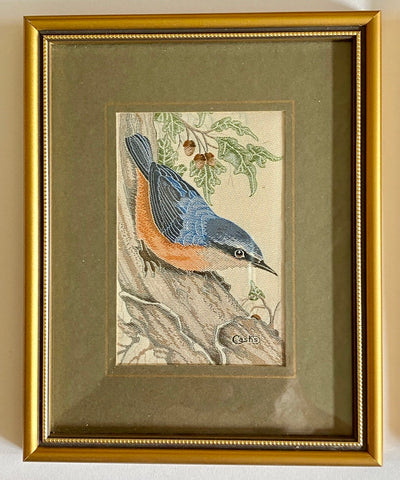 Vintage English Woven Silk Nuthatch Bird Matted in Gold Frame
