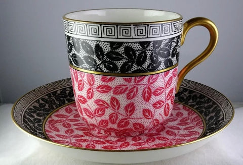 Antique Aesthetic Movement Bi Color Pink & Black Lg Joke Cup & Saucer leaves & Greek Key