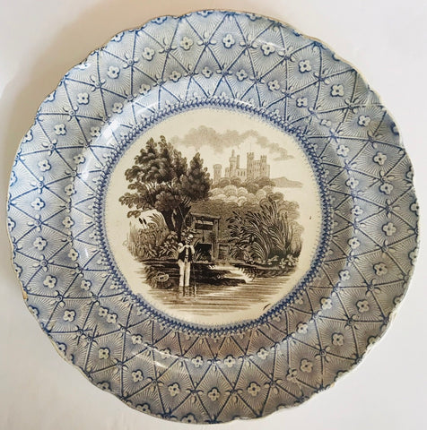 Staffordshire Bi Color Transferware Blue Brown Fisherman Plate Enoch Wood 1835-50