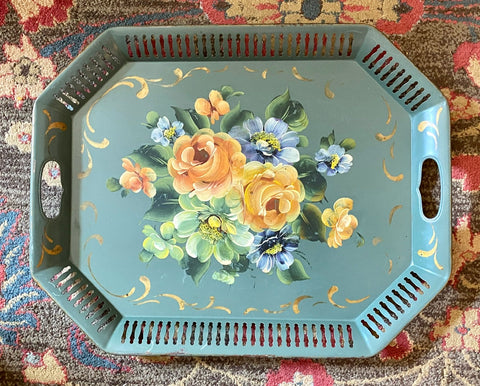 "Huge 22"" Vintage Green Tole Tray Toleware Hand Painted Plethora of Flowers"