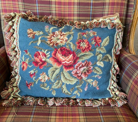 Blue w/ Pink Red Roses Floral Needlepoint Petit Point Pillow Cover Tassel Fringe