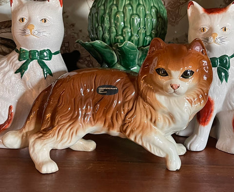 Large Coopercraft English Cat Figurine Chestnut Color w/ Green Eyes