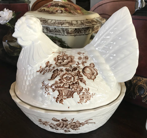 Vintage Brown Transferware English Staffordshire Ironstone Nesting Hen Lidded Egg Basket Tureen Floral Toile Charlotte