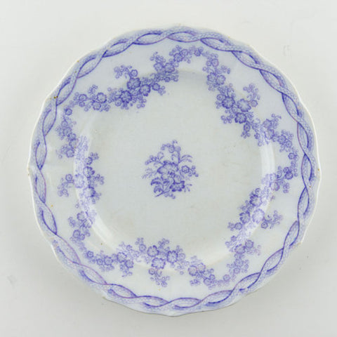 Antique Gustafsberg Swedish / French Lavender Purple Transferware Plate Swag Garland Festoon