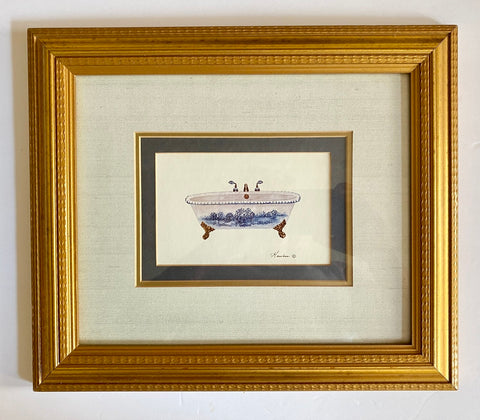 Triple Matted w/ Gold Frame Blue Toile Claw Foot Bath Tub Print