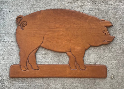 Vintage French Country Carved Wooden Wood Pig / Hog Wall Plaque Sign Farmhouse Decor