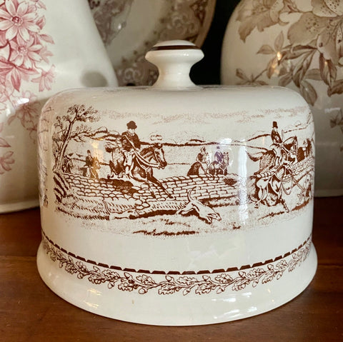 Vtg Oak Leaves & Acorns English Hunt Scene Brown Transferware CHEESE Dome Bell