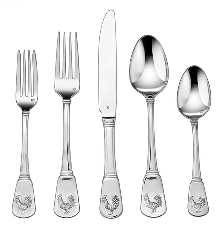 20 pc Service for 4 Country French Rooster Stainless Flatware Set