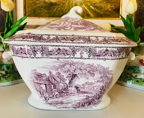 Clarice Cliff Signed Royal Staffordshire Purple Transferware large Soup  Tureen Rural Scenes England