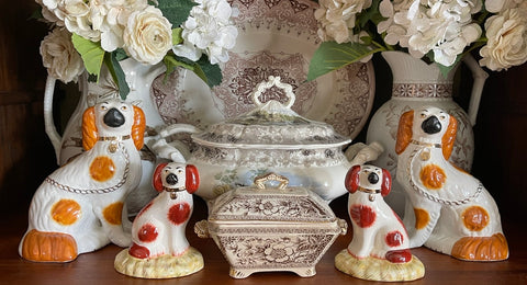 Pair of Antique Caramel & White English Staffordshire Spaniel Dog Figurines