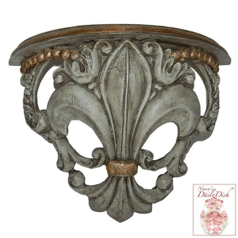 Architectural French Fleur De Lis Wall Corbel Bracket Ornamental Shelf in Antique Finish