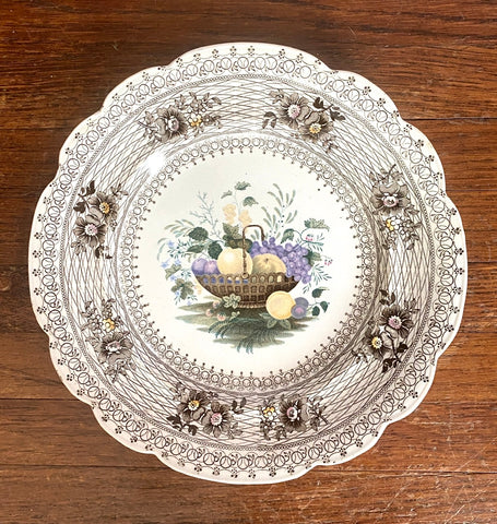 STUNNING & VERY RARE William Smith & Co Multi Brown WEDGeWOOD Fruit Basket & Floral Transferware Plate