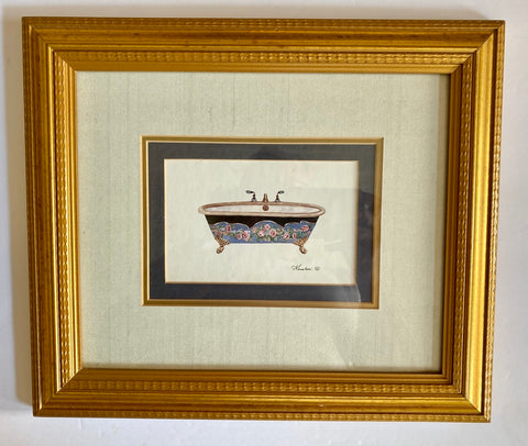 Triple Matted w/ Gold Frame Blue  slack Pink Rides Claw Foot Bath Tub Print