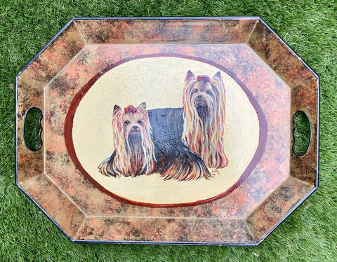 Vintage Yorkshire Terriers Portrait Hand Painted Artist Signed Toleware Tray