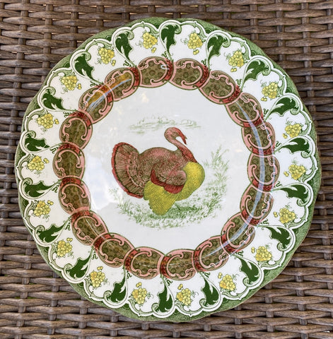 RARE Antique Green Transferware Thanksgiving Turkey Plate Florence Bisto Powell Bishop Stonier