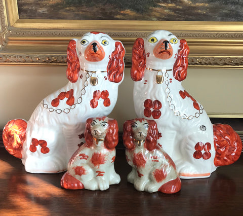 Large Pair of Vintage Reddish Brown & White Gilt English Staffordshire Spaniel Dog Figurines  - English Country Decor