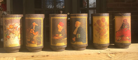 Set of 6 Vintage Drinking Glasses / Tumblers Famous Paintings Artists