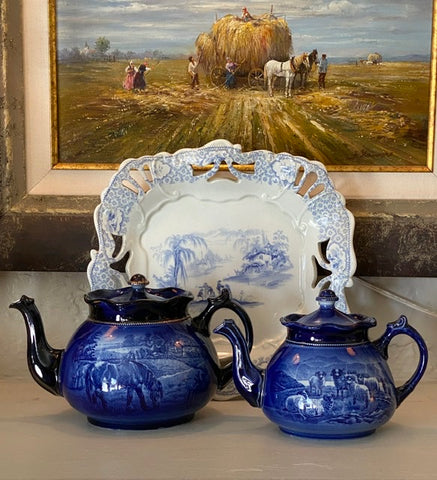 Antique A Wood Flow Blue Transferware Teapot Horses Highland Scottish Sheep