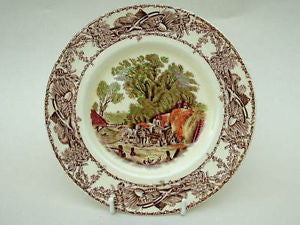 Rural Scenes Brown Transferware Plate Chickens Horses Haywagon Farm Bee Skep