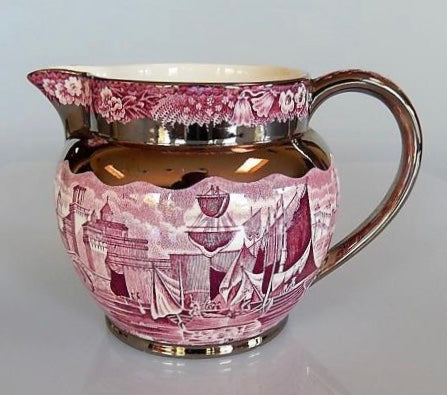 Lg Wedgwood Ferrara Purple Plum Transferware Pitcher Jug Sterling Silver Overlay Clipper Ships Floral  Blue Bell & Phlox Border