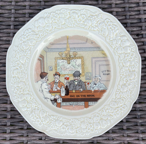 Antique English Pub Plate Transferware ONE ON THE HOUSE Humorous Saloon Bar Decor # 5 of 6